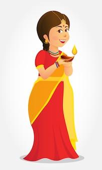 Ładny karton indyjski dziewczyna trzyma diya