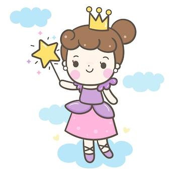 Ładny kąt dziewczyna wektor trzyma magiczną różdżkę kreskówka