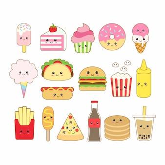 Ładny kawaii fast foodów rysunek