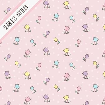 Ładny kawaii pastelowe kolory kwiaty wzór.