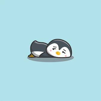 Ładny kawaii ręcznie rysowane doodle znudzony leniwy pingwin