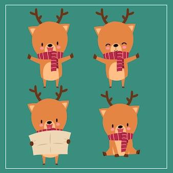 Ładny kawaii ręcznie rysowane jelenia na sobie szalik z uśmiechniętą i zabawną twarzą w różnych pozach