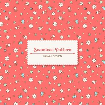 Ładny kawaii wiosenne kwiaty i motyle wzór