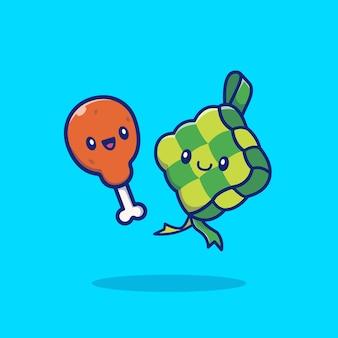 Ładny ketupat z smażonym kurczakiem ikona ilustracja kreskówka. ramadhan koncepcja ikona jedzenie na białym tle. płaski styl kreskówki
