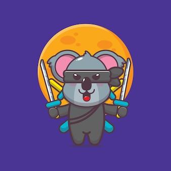 Ładny koala ninja ikona ilustracja kreskówka wektor