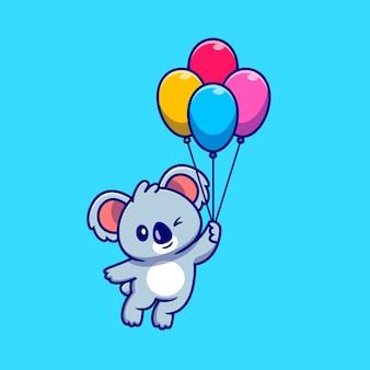 Ładny koala pływający z balonem ikona ilustracja kreskówka. koncepcja ikona natura zwierząt na białym tle. płaski styl kreskówki