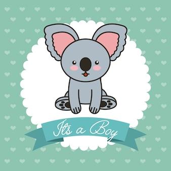 Ładny koala zwierząt karty baby shower