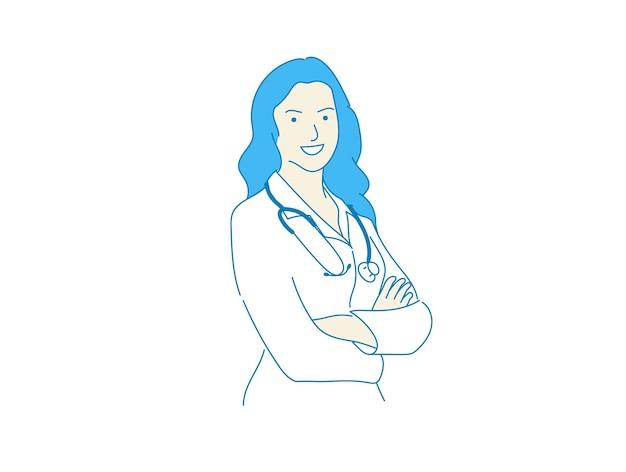 Ładny kobieta lekarz kobieta szpital pracownik stojący wektor na białym tle, koncepcja medyczna