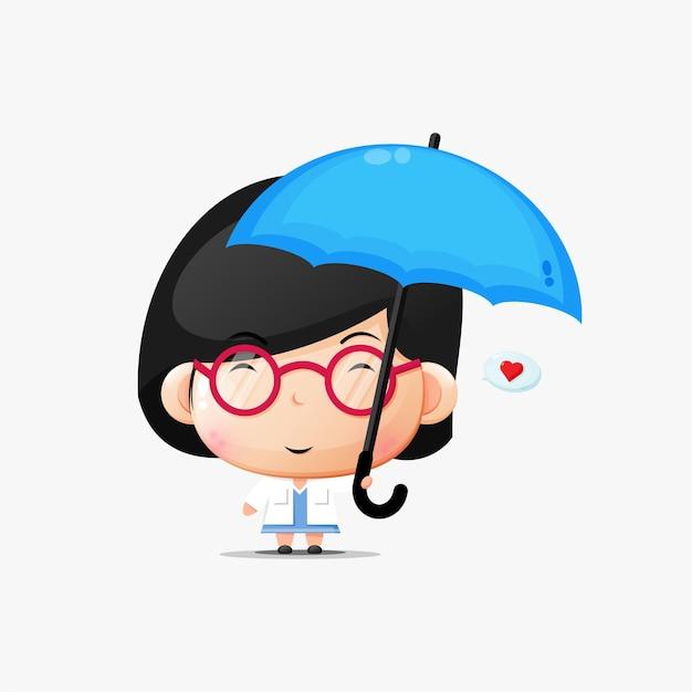 Ładny kobieta lekarz niosący parasol