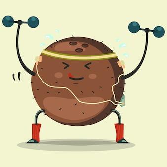 Ładny kokosowy postać z kreskówki robi ćwiczenia z hantlami ilustracja kreskówka