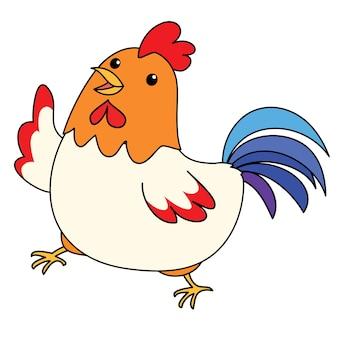 Ładny kolorowy kurczak wziąć wektor spacer
