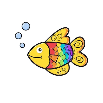 Ładny kolorowy ryb charakter kreskówka ikona ilustracja. zaprojektuj na białym tle płaski styl kreskówki