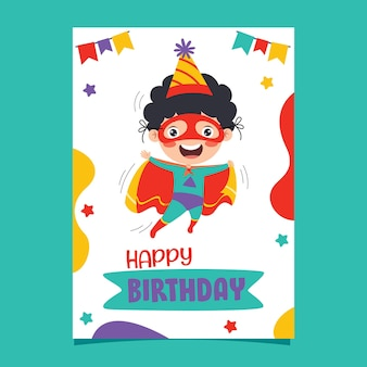 Ładny kolorowy szablon kartki urodzinowej