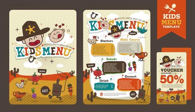 Ładny kolorowy szablon menu posiłek dla dzieci