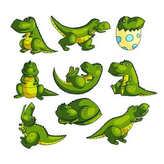 Ładny kolorowy zielony dino postać w różnych pozach