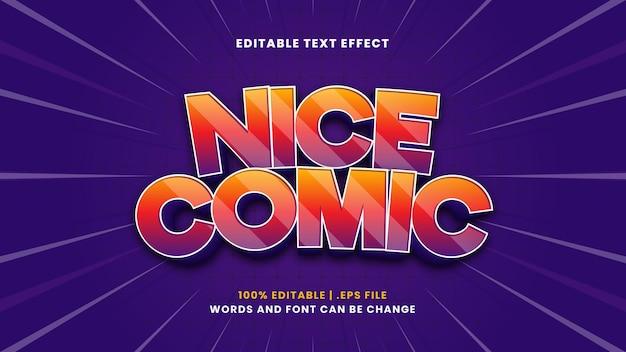 Ładny komiks edytowalny efekt tekstowy w nowoczesnym stylu 3d