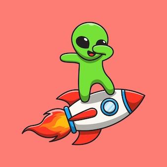 Ładny kosmita stojący na ilustracji kreskówki rakiety