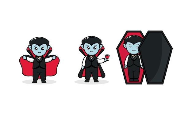 Ładny kostium dla dzieci dracula halloween maskotka ilustracja projekt logo