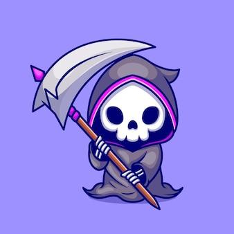 Ładny kostucha trzymający kosę ikona ilustracja kreskówka. koncepcja ikona wakacje halloween na białym tle. płaski styl kreskówki