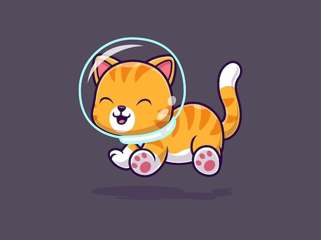 Ładny kot astronauta unoszący się w kosmosie