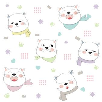 Ładny kot bez szwu wzór ręcznie rysowane stylu