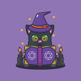 Ładny kot czarownica czytająca książkę zaklęć śliczna ilustracja kreskówka halloween