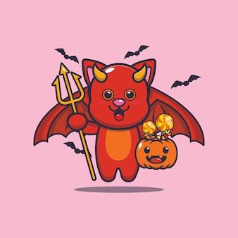 Ładny kot diabeł niosący dynię halloween śliczna ilustracja kreskówka halloween