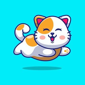 Ładny kot dziecko działa kreskówka