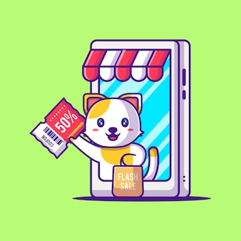 Ładny kot gospodarstwa kupon rabatowy w ilustracja kreskówka smartfona. sprzedaż zwierząt i flash płaska koncepcja stylu cartoon