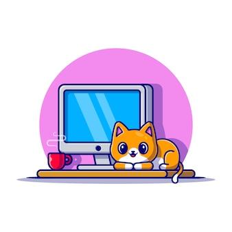 Ładny kot i komputer ikona ilustracja kreskówka. koncepcja ikona technologii zwierząt na białym tle. płaski styl kreskówki