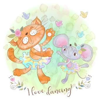 Ładny kot i mysz tańczy. śmieszne przyjaciele.