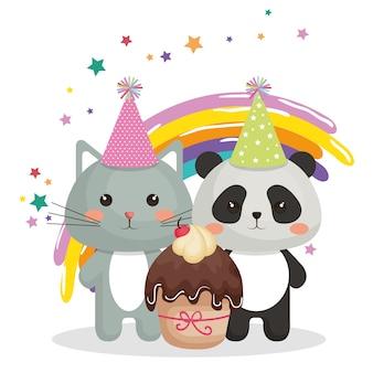 Ładny kot i niedźwiedź panda słodki kawaii charakter urodziny karty