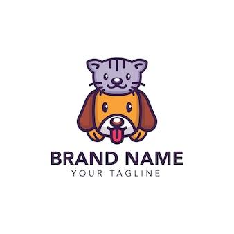 Ładny kot i pies szablon logo petshop