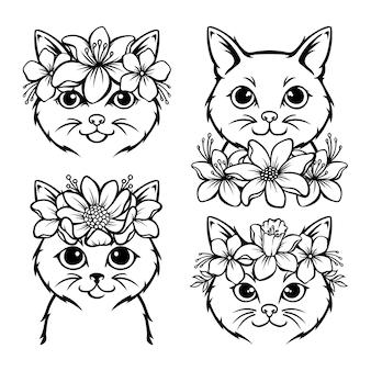 Ładny kot ilustracja wieniec kwiatowy