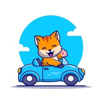 Ładny kot jazdy samochodem postać z kreskówki. transport zwierząt na białym tle.
