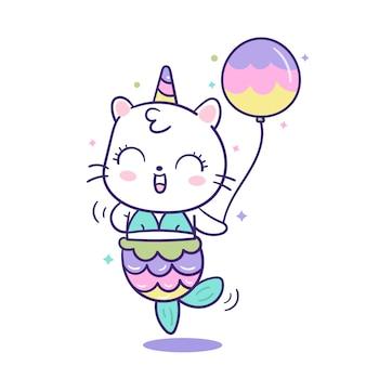 Ładny kot jednorożca syrenka wektor trzymając balon