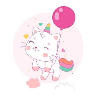 Ładny kot jednorożec kreskówka latać z balonami w stylu kawaii