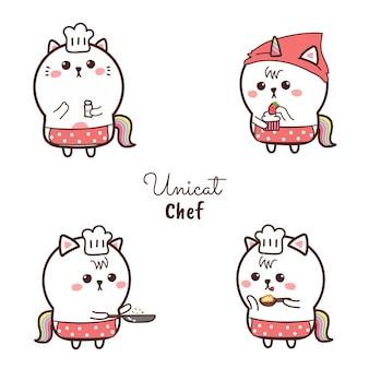 Ładny kot jednorożec kucharz kreskówka wyciągnąć rękę i słodki kolor. gotowanie logo.