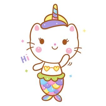 Ładny kot jednorożec powiedz cześć kreskówka syrenka