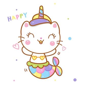 Ładny kot jednorożec powiedz kreskówka syrenka szczęśliwy emocji