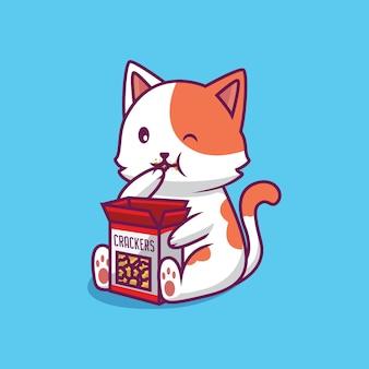 Ładny Kot Jedzenie Ilustracja Kreskówka Krakersy Premium Wektorów
