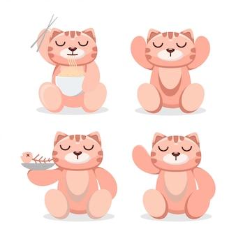 Ładny kot jedzenie kreskówka maskotka makaron
