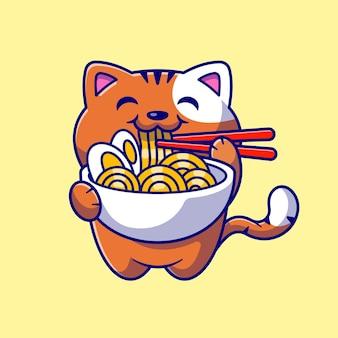 Ładny kot jedzenie makaronu ramen z pałeczką kreskówka ikona ilustracja. koncepcja ikona żywności dla zwierząt na białym tle. płaski styl kreskówki
