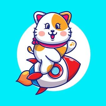 Ładny kot jedzie rakieta kreskówka
