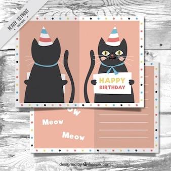 Ładny kot kartka urodzinowa