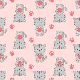 Ładny kot kreskówka i wzór serca