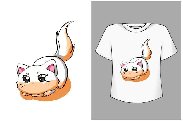 Ładny kot kreskówka ilustracja