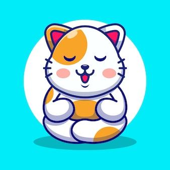Ładny kot kreskówka medytacja