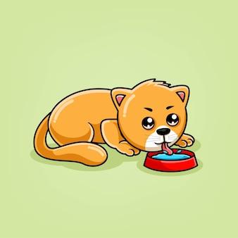 Ładny kot kreskówka picie