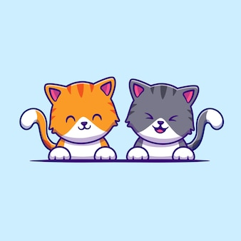Ładny kot kreskówka przyjaciel para